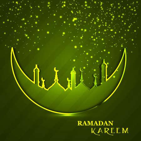 religious celebration: Celebration Ramadan Kareem religious mosque and moon green colorful background