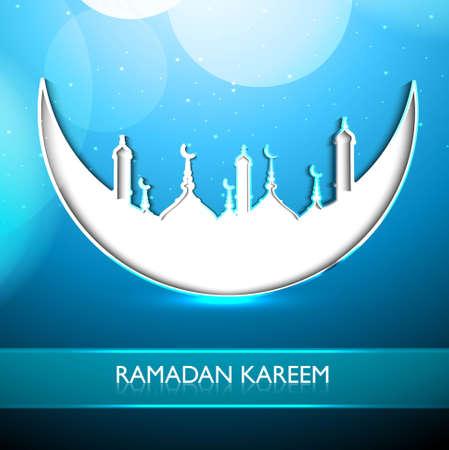 religious celebration: Ramadan Kareem religious mosque and moon celebration blue colorful design