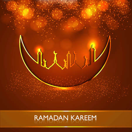 religious celebration:  Ramadan Kareem religious mosque and moon celebration bright colorful