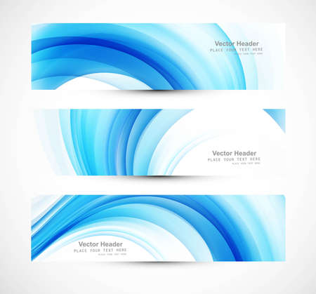 Abstract header blue wave vector illustration Vector