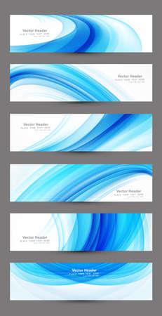 Abstract six blue wave header set vector design