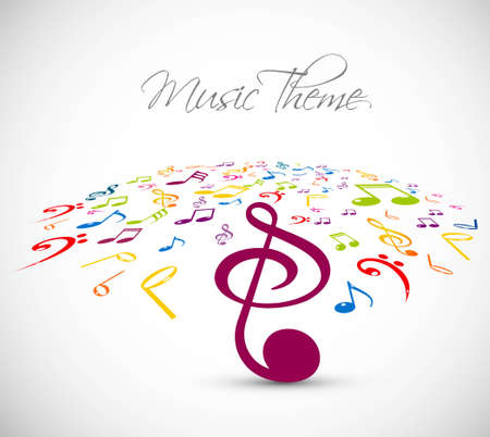 abstract music notes stylish multicolorful white background vector Vector