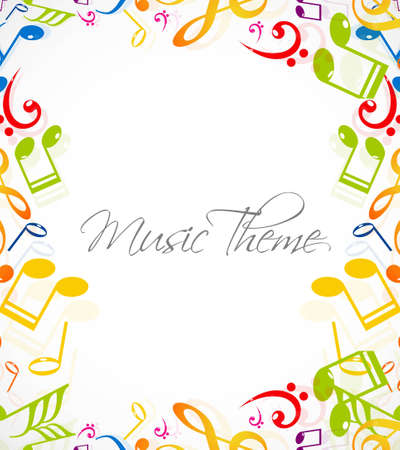 abstract music notes stylish multicolorful white background illustration Vector