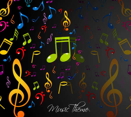 abstract music notes stylish multicolorful black background illustration Vector