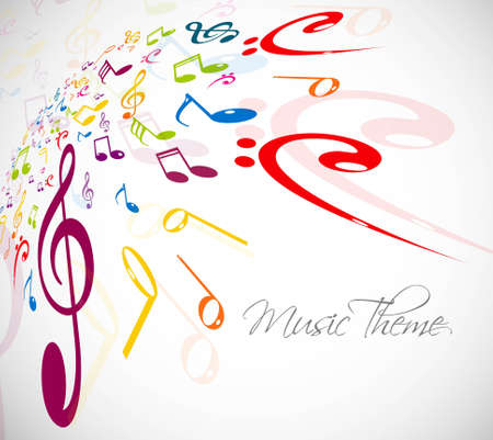 Music notes stylish multicolorful background vector illustration Vector