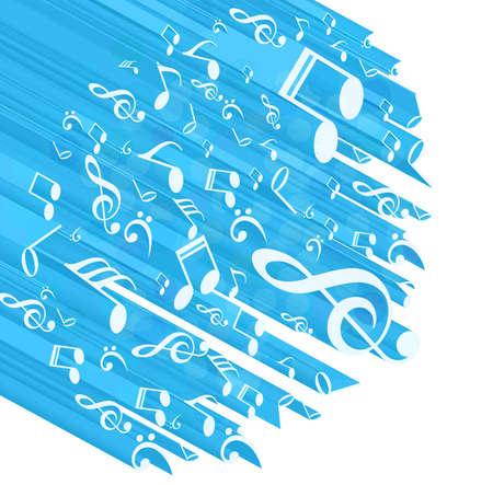 추상 음악 노트 파란색 화려한 배경 흰색 벡터 일러스트 레이션 일러스트
