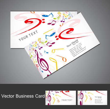 Music notes stylish business card set vector illustration Vector