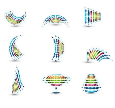 Business icon colorful dotted collection vector element white background Stock Vector - 23701278