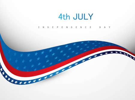 7월 4일 미국 독립 기념일 창조적 인 웨이브 벡터 일러스트