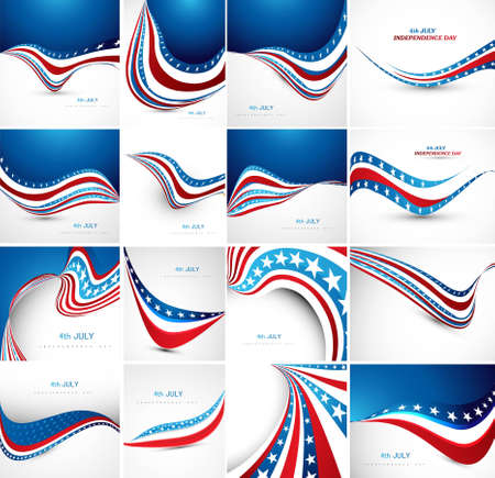 4th of july: 4th july american independence day fantastic flag 16 wave set collection vector