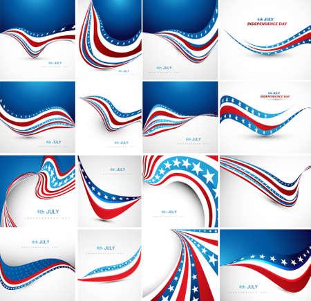 7월 4일 미국 독립 기념일 환상적인 플래그 (16) 파 세트 컬렉션 벡터 일러스트