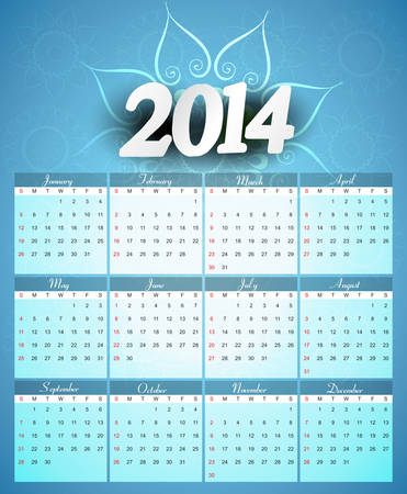 Calendar 2014 colorful creative design illustration vector Vector
