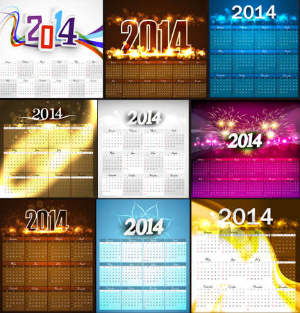 2014 Calendar bright colorful collection design illustration vector Vector