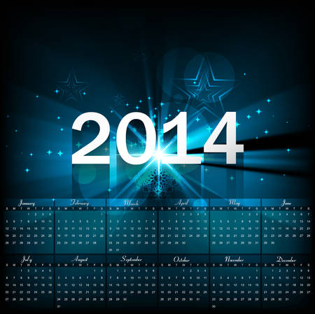 Beautiful Calendar 2014 template bright blue colorful shiny wave background  Vector