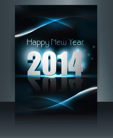 해피 뉴 이어 2014 축하 템플릿 벡터 브로셔 화려한 디자인 일러스트