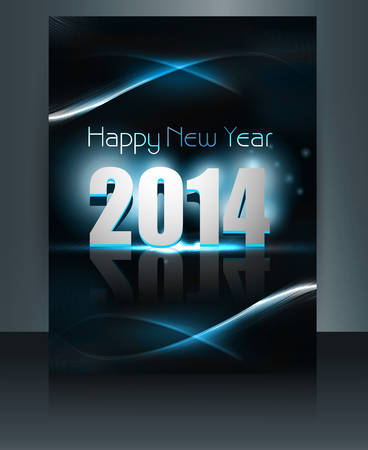 twenty thirteen: Happy New Year 2014 celebration template vector brochure colorful design