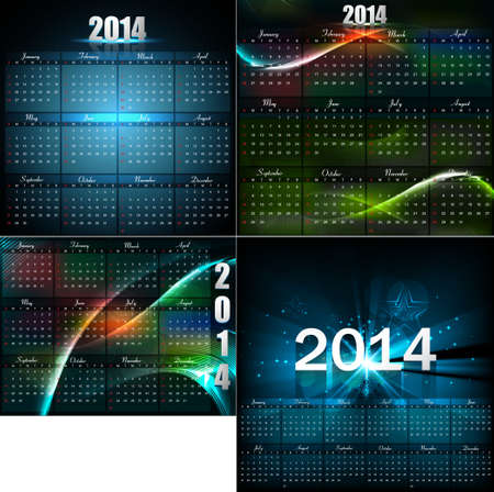 Calendar for new year 2014  bright colorful collection design illustration vector Vector