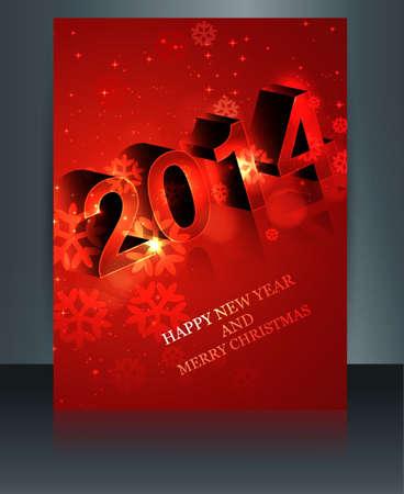 twenty thirteen: 2014 celebration template brochure Happy New Year design