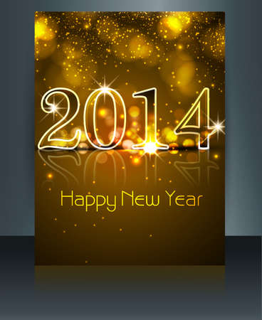 twenty thirteen: New year 2014 shiny reflection colorful template