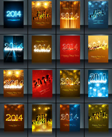 twenty thirteen: New year 2014 celebration template brochure collection presentation colorful Illustration