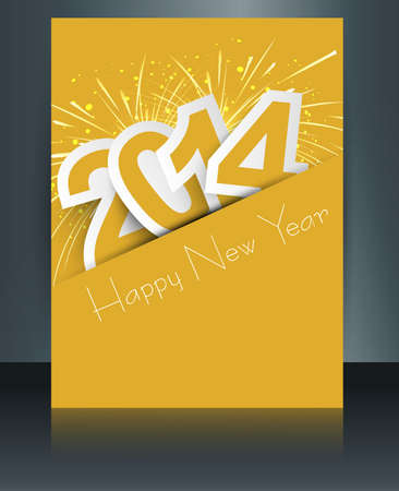 twenty thirteen: Celebration for new year 2014 colorful brochure template with stylish text design