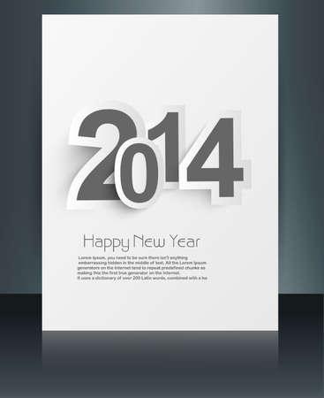 twenty thirteen: Beautiful text happy new year 2014 brochure vector Illustration