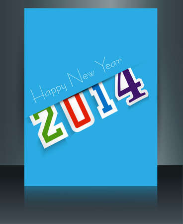 twenty thirteen: New year 2014 stylish colorful text brochure template reflection vector design