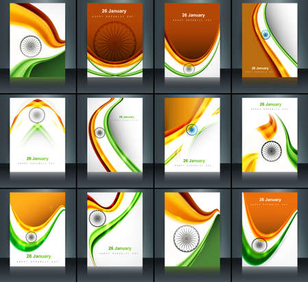 Indian flag brochure stylish wave template collection illustration for independence day Illustration