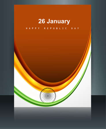 Beautiful brochure template reflection design for Indian republic day and independence day vector  Vector