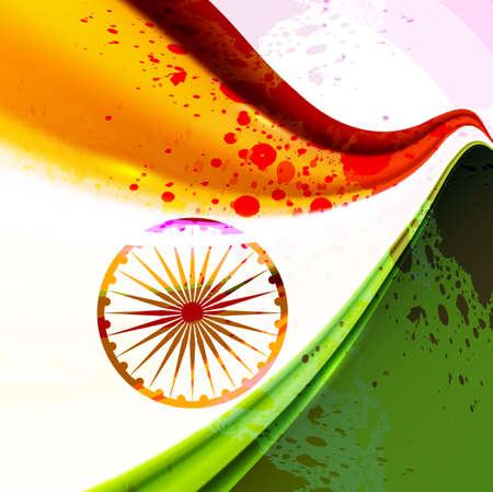 Indian flag Indian republic day and independence day illustration tricolor stylish wave vector  Vector