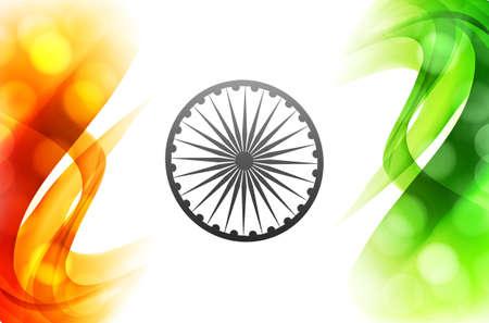 インドのベクトル フラグ美しい波三色背景イラスト  イラスト・ベクター素材