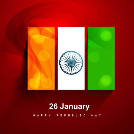 Beautiful stylish indian flag creative presentation republic day tricolor background vector illustration Vector
