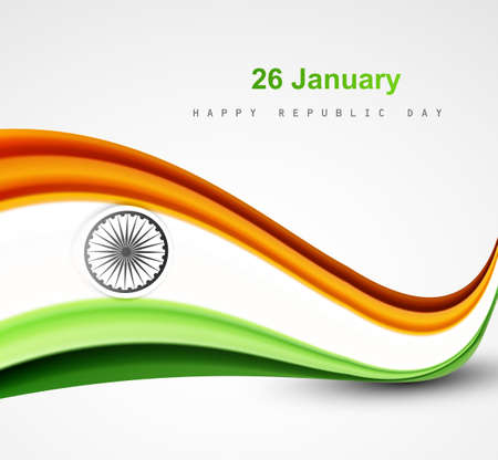 indian flag: Stylish indian flag republic day beautiful tricolor wave design art vector