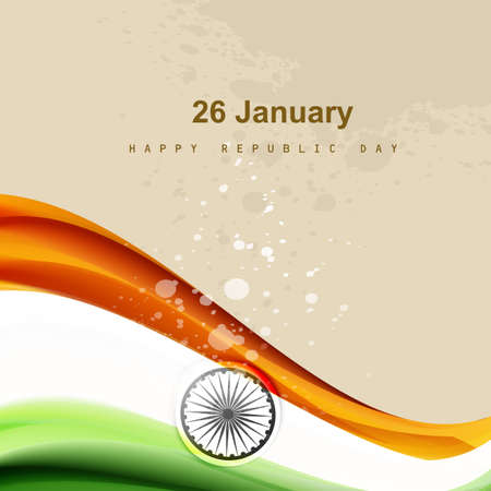 Stylish indian flag republic day creative wave tricolor vector Vector