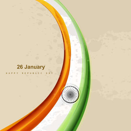 vector indian flag beautiful stylish tricolor wave design