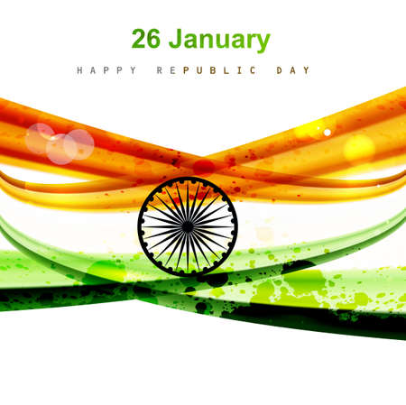 Happy republic day colorful indian flag wave design vector Vector