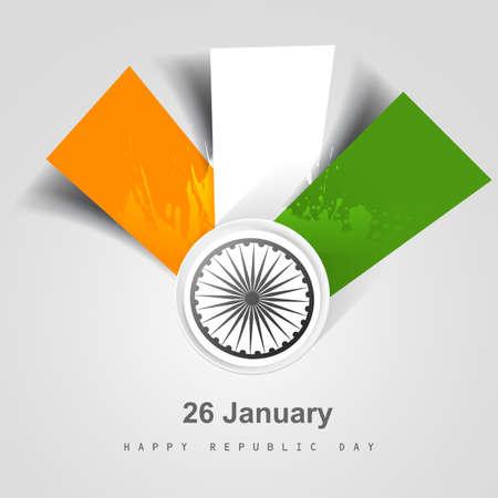 Beautiful stylish creative indian flag presentation republic day tricolor vector