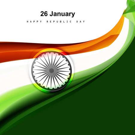 Stylish indian flag wave elegant artistic design for Indian republic day