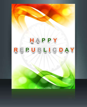 whit: Republic day tricolor brochure template for wave  indian flag design