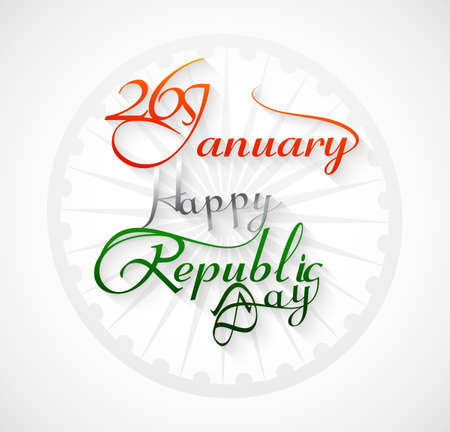 Beautiful 26 january calligraphy happy republic day text tricolor design  Vector