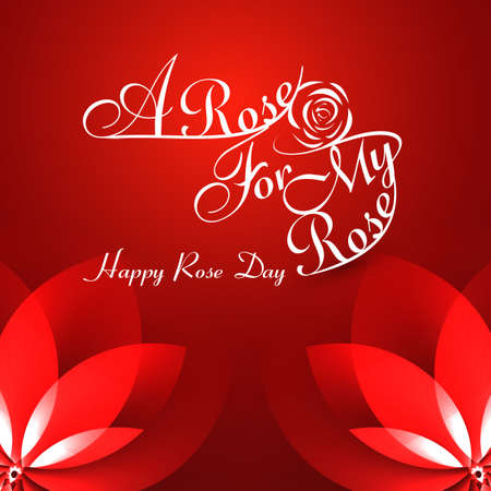 Beautiful A rose for my rose happy rose day typography text colorful background vector