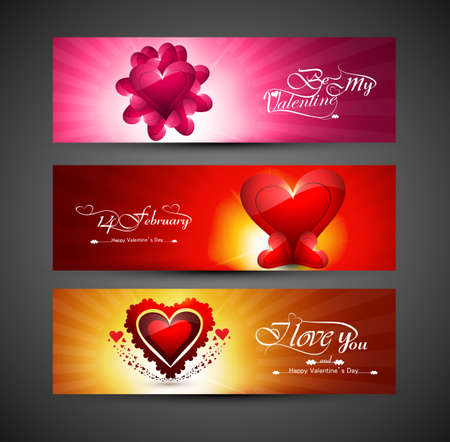Valentines day bright colorful greeting card for three header design vector Vector