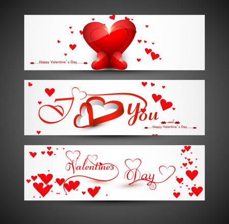 Website for header or banners set colorful valentines day heart vector Vector