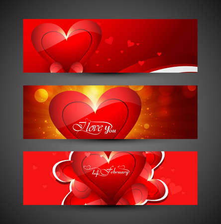 Valentine's day colorful heart banners or headers set design vector Vector