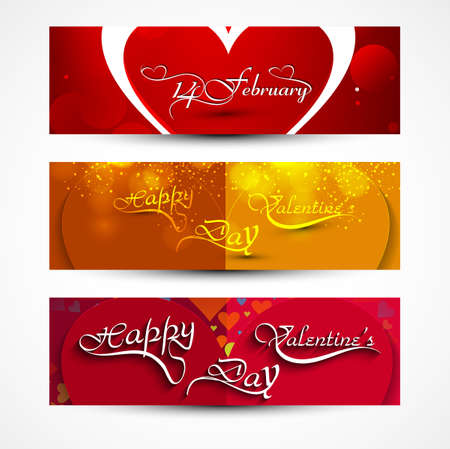 Valentines day greeting card colorful three headers set design vector Vector