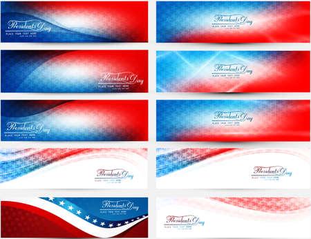 다채로운 헤더 설정 컬렉션 벡터 일러스트와 함께 미국 대통령의 날 일러스트