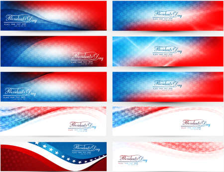 President Day in United States of America with colorful header set collection vector illustration Illustration