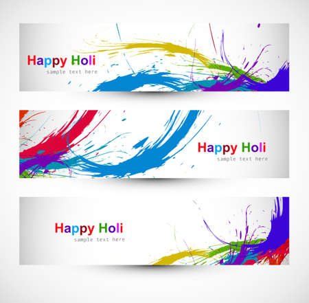Header colorful set grunge dirty of holi festival vector design Vector