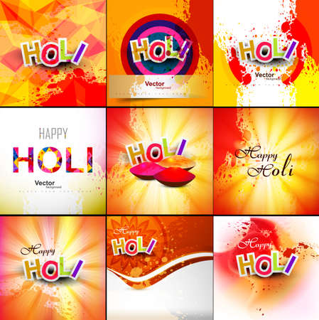 hindus: Beautiful Indian festival grunge colorful collection celebration happy holi set background vector illustration