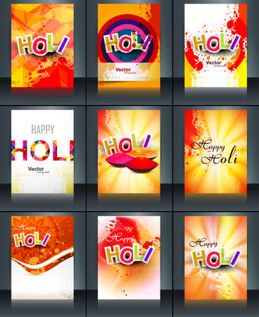 hindus: Beautiful background of indian festival collection colorful set holi brochure card reflection vector template design